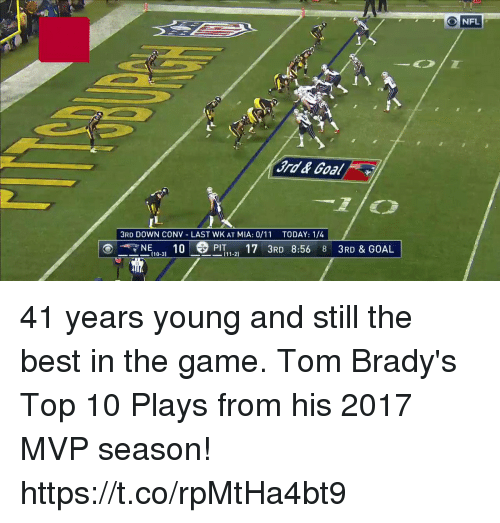still the best: 3RD DOWN CONV LAST WK AT MIA: 0/11 TODAY: 1/4  --NE 10-31 10 -8PİT 1-21 17 3RD 8:56 8 3RD & GOAL 41 years young and still the best in the game.  Tom Brady's Top 10 Plays from his 2017 MVP season! https://t.co/rpMtHa4bt9