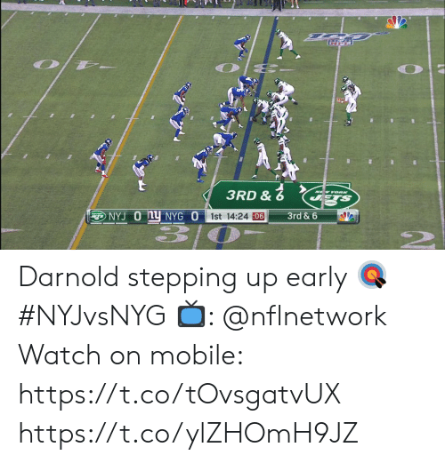 Stepping: 3RD &  NEW YOORK  STS  NYJ O Ny NYG O  1st 14:24 06  3rd & 6 Darnold stepping up early 🎯 #NYJvsNYG  📺: @nflnetwork Watch on mobile: https://t.co/tOvsgatvUX https://t.co/ylZHOmH9JZ