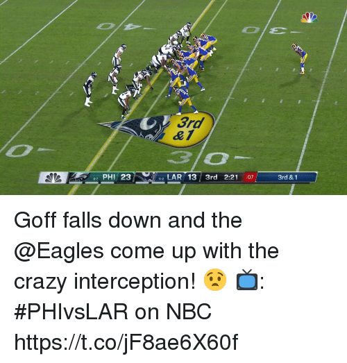 interception: 3rd  PHI 23  2LAR 13 3rd 2:21 :07  3rd & 1 Goff falls down and the @Eagles come up with the crazy interception! 😧  📺: #PHIvsLAR on NBC https://t.co/jF8ae6X60f