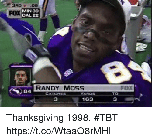 Football, Nfl, and Sports: 3RD06  MIN 39  DAL 22  FOX  RANDY MOSS  FOX  CATCHES  ARDS  TD  3  163  3 Thanksgiving 1998. #TBT https://t.co/WtaaO8rMHI