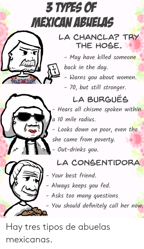 Too Many Questions: 3TYPES OF  MEXICAN ABHELAS  LA CHANCLA? TRY  THE HOSE  May have killed someone  back in the day  Warns you about women  - 70, but still stronger.  LA BURGUES  Hears all chisme spoken within  a 10 mile radius,  - Looks down on poor, even tho  she came from poverty  Out-drinks you  LA CONSENTIDORA  Your best friend  Always keeps you fed  - Asks too many questions  - You shoulddefinitely call her now Hay tres tipos de abuelas mexicanas.