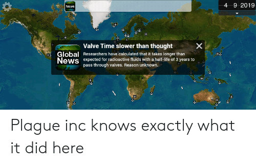 Valve Time: 4 9 2019  Nows  Valve Time slower than thought  Global  News  Researchers have calculated that it takes longer than  expected for radioactive fluids with a half-life of 3 years to  pass through valves. Reason unknown.  X Plague inc knows exactly what it did here
