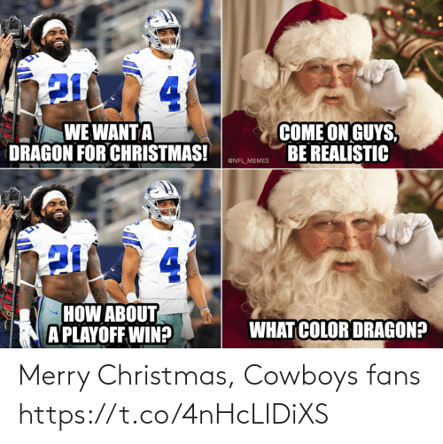 how about: 4.  COME ON GUYS,  BE REALISTIC  WE WANT A  DRAGON FOR CHRISTMAS!  @NFL_MEMES  4.  HOW ABOUT  A PLAYOFF WIN?  WHAT COLOR DRAGON? Merry Christmas, Cowboys fans https://t.co/4nHcLIDiXS