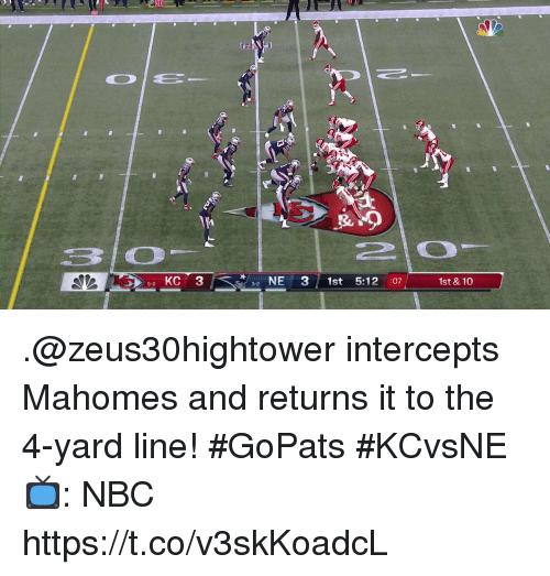 "Memes, 🤖, and Nbc: 4  ""  KC 3  NE 3 1st 5:12 :07  5-0  3-2  1st &10 .@zeus30hightower intercepts Mahomes and returns it to the 4-yard line! #GoPats #KCvsNE  📺: NBC https://t.co/v3skKoadcL"