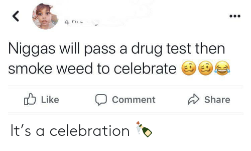 Drug Test: 4 n  Niggas will pass a drug test then  smoke weed to celebrate  Like  Share  Comment It's a celebration 🍾