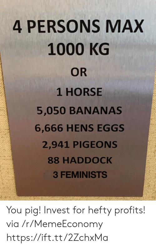 pigeons: 4 PERSONS MAX  1000 KG  OR  1 HORSE  5,050 BANANAS  6,666 HENS EGGS  2,941 PIGEONS  88 HADDOCK  3 FEMINISTS You pig! Invest for hefty profits! via /r/MemeEconomy https://ift.tt/2ZchxMa