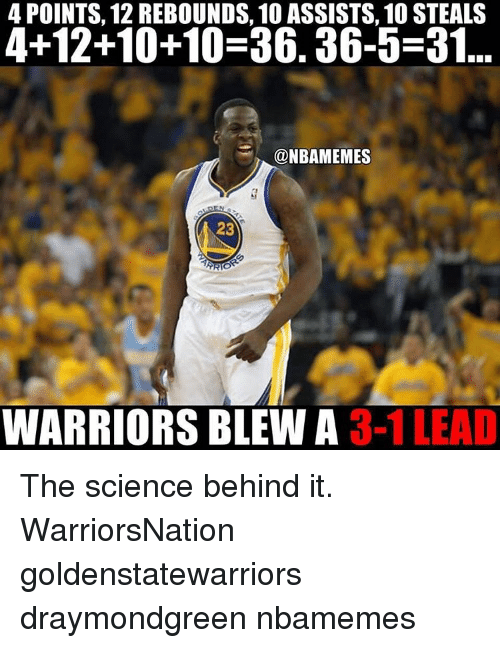 Memes, 🤖, and Rebound: 4 POINTS, 12 REBOUNDS, 10 ASSISTS, 10 STEALS  4+12+10+10-36. 36-5-31  @NBAMEMES  23  ARIS  WARRIORS BLEW A  3-1 LEAD The science behind it. WarriorsNation goldenstatewarriors draymondgreen nbamemes