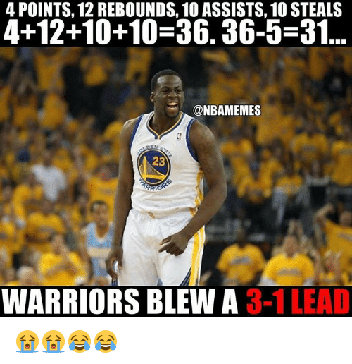 Warriors Blew A 3 1 Lead: 4 POINTS, 12 REBOUNDS, 10 ASSISTS, 10 STEALS  4+12+10+10-36. 36-5-31  @NBAMEMES  23  ARO  WARRIORS BLEW A  3-1 LEAD 😭😭😂😂