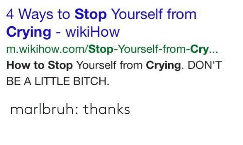 Stop Yourself: 4 Ways to Stop Yourself from  Crying wikiHow  m.wikihow.com/Stop-Yourself-from-Cry...  How to Stop Yourself from Crying. DON'T  BE A LITTLE BITCH marlbruh:  thanks