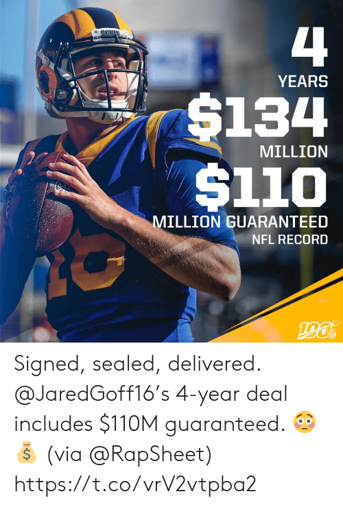Guaranteed: 4  YEARS  $134  $110  MILLION  MILLION GUARANTEED  NFL RECORD  190  NFL Signed, sealed, delivered.  @JaredGoff16's 4-year deal includes $110M guaranteed. 😳💰  (via @RapSheet) https://t.co/vrV2vtpba2