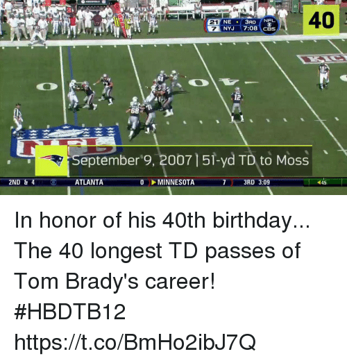 Birthday, Memes, and Minnesota: 40  21  7  NE 3RDNEL  12  68  eptember'9, 200715i-yd TD to Moss  7 3RD 3:09  45  2ND & 4  ATLANTA  MINNESOTA In honor of his 40th birthday...   The 40 longest TD passes of Tom Brady's career! #HBDTB12 https://t.co/BmHo2ibJ7Q