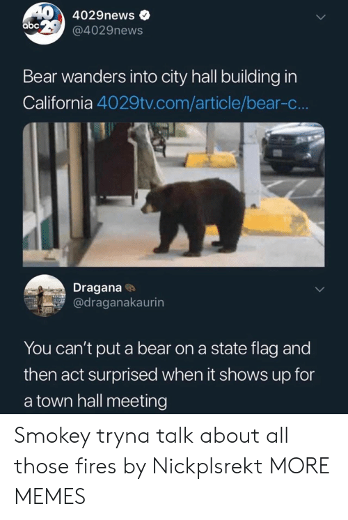 city hall: 40 4029news  abc @4029news  Bear wanders into city hall building in  California 4029tv.com/article/bear-c..  Dragana  @draganakaurin  You can't put a bear on a state flag and  then act surprised when it shows up for  a town hall meeting Smokey tryna talk about all those fires by Nickplsrekt MORE MEMES