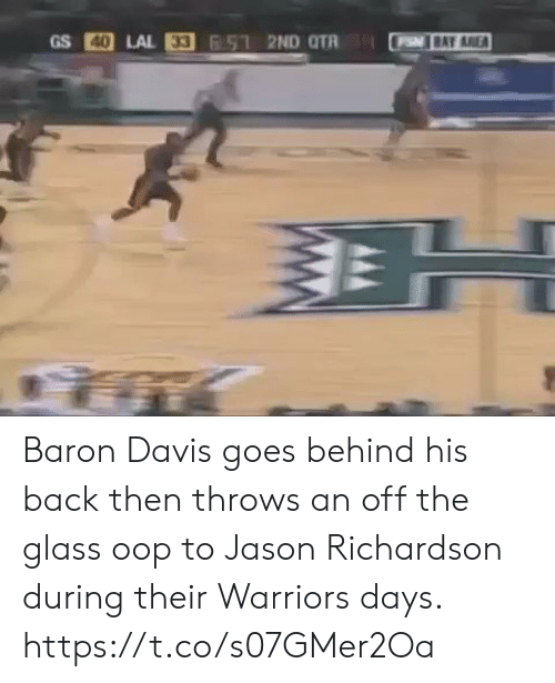 Baron Davis: 40  P BAY AREA Baron Davis goes behind his back then throws an off the glass oop to Jason Richardson during their Warriors days.  https://t.co/s07GMer2Oa