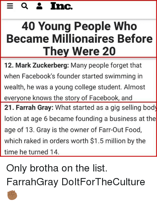 millionaires: 40 Young People Who  Became Millionaires Before  They Were 20  12. Mark Zuckerberg: Many people forget that  when Facebook's founder started swimming in  wealth, he was a young college student. Almost  everyone knows the story of Facebook, and  21. Farrah Gray: What started as a gig selling body  lotion at age 6 became founding a business at the  age of 13. Gray is the owner of Farr-Out Food,  which raked in orders worth $1.5 million by the  time he turned 14 Only brotha on the list. FarrahGray DoItForTheCulture ✊🏾