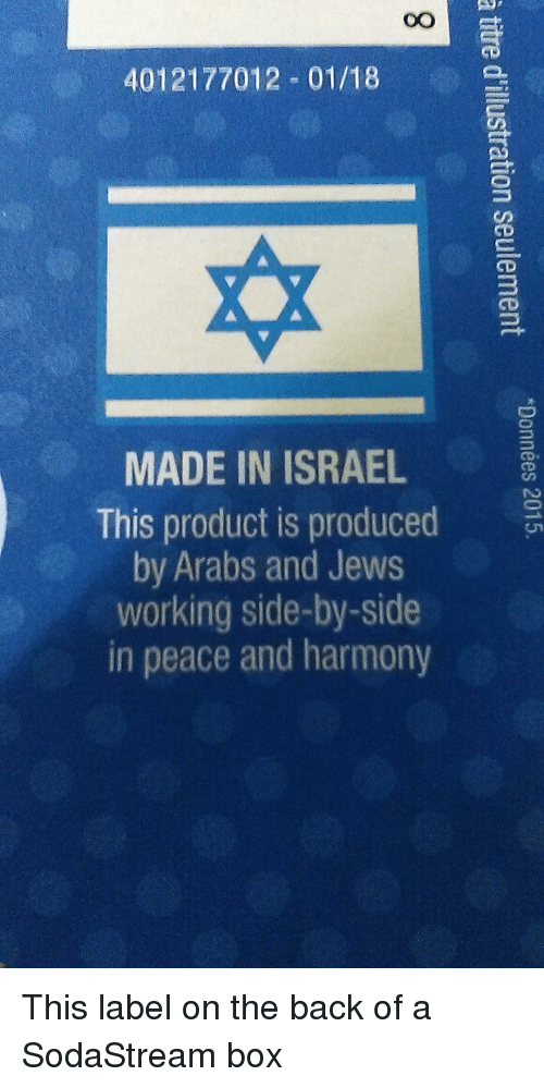 Produced By: 4012177012 01/18  MADE IN ISRAEL  This product is produced  by Arabs and Jews  working side-by-side  in peace and harmony This label on the back of a SodaStream box