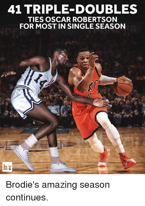 robertsons: 41 TRIPLE DOUBLES  TIES OSCAR ROBERTSON  FOR MOST IN SINGLE SEASON  br Brodie's amazing season continues.