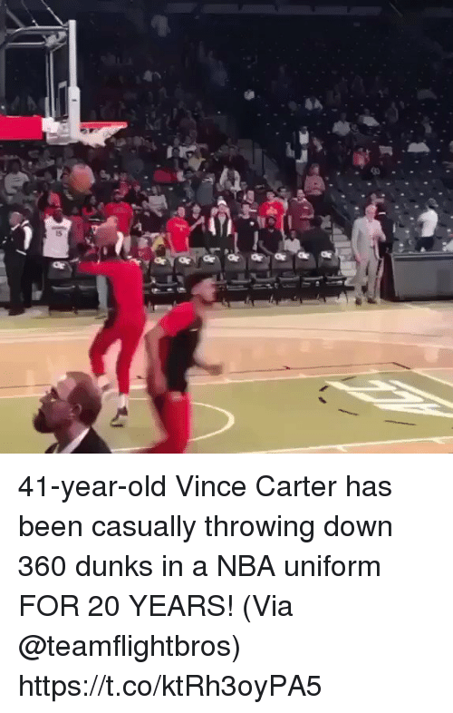 vince carter: 41-year-old Vince Carter has been casually throwing down 360 dunks in a NBA uniform FOR 20 YEARS!   (Via @teamflightbros)   https://t.co/ktRh3oyPA5