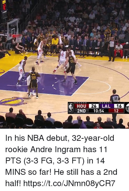 Memes, Nba, and Old: 42  52  HOU 26 LAL  2ND 10:54 12  16 In his NBA debut, 32-year-old rookie Andre Ingram has 11 PTS (3-3 FG, 3-3 FT) in 14 MINS so far!   He still has a 2nd half! https://t.co/JNmn08yCR7