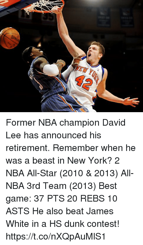 All Star, Dunk, and Memes: 42 Former NBA champion David Lee has announced his retirement. Remember when he was a beast in New York?  2 NBA All-Star (2010 & 2013) All-NBA 3rd Team (2013) Best game: 37 PTS 20 REBS 10 ASTS  He also beat James White in a HS dunk contest! https://t.co/nXQpAuMlS1