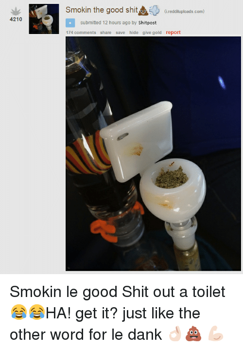Le Dank: 4210  Smokin the good shit  (i reddituploads.com)  submitted 12 hours ago by  hit  post  174 comments  share save hide give gold report Smokin le good Shit out a toilet😂😂HA! get it? just like the other word for le dank 👌🏻💩 💪🏻