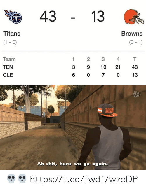 Meme Guy: 43  13  Titans  Browns  (1-0)  (0-1)  Team  1  2  4  TEN  3  9  10  21  43  CLE  6  0  7  0  13  NEL  MEME  GUY  CLEVELA  BROWNS  Ah shit, here we go again. 💀💀 https://t.co/fwdf7wzoDP