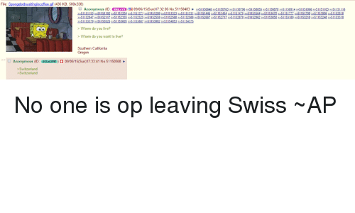 Superior Swiss: 436 KB, 500x338)  nonymous (D: 8 09 06/15(Sun) 173206 No 51150483  Where do you lve?  Where do you want to live?  Southern Califomia  O Anonymous (ID: aoueuPE) 0906/15(Sun)17:33:41 No 51150568 No one is op leaving Swiss ~AP