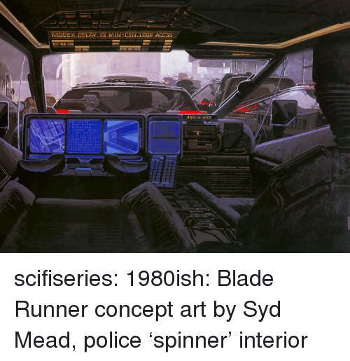 concept art: 437.2 ENT scifiseries:  1980ish: Blade Runner concept art by Syd Mead, police 'spinner' interior