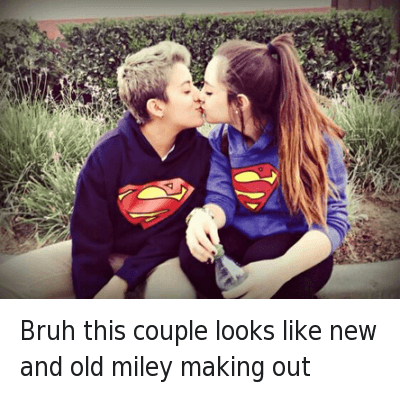 Bruh, Girls, and Girls Kissing: Bruh this couple looks like new and old miley making out Bruh this couple looks like new and old miley making out