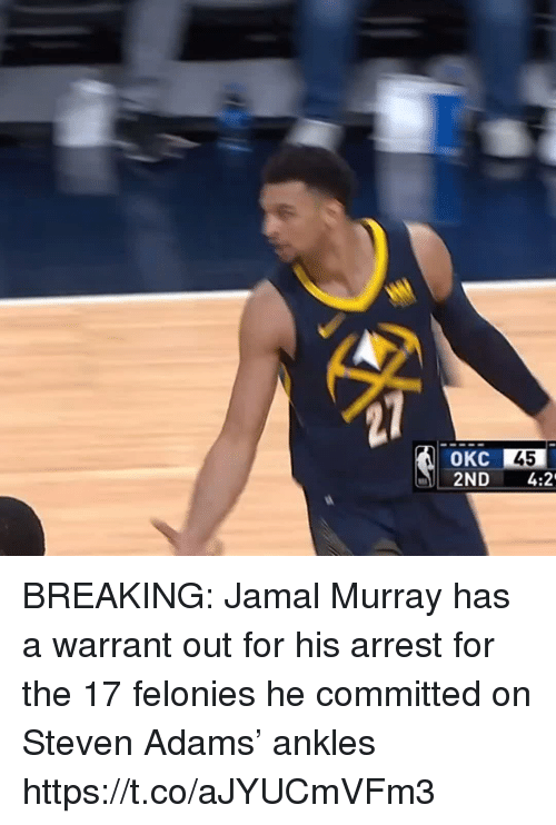 Sports, Steven Adams, and Jamal Murray: 45  2ND 4:2 BREAKING: Jamal Murray has a warrant out for his arrest for the 17 felonies he committed on Steven Adams' ankles https://t.co/aJYUCmVFm3