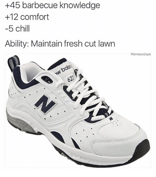 comfortability: +45 barbecue knowledge  +12 comfort  5 chill  Ability: Maintain fresh cut lawrn  Memesodope