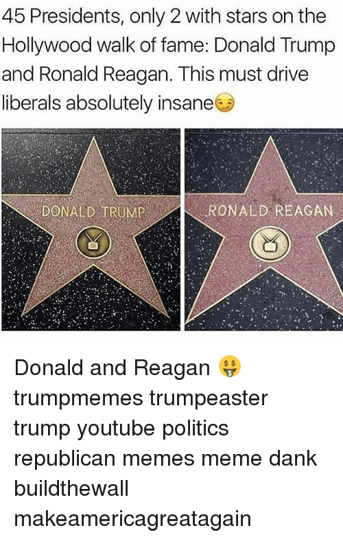 Republican Memes: 45 Presidents, only 2 with stars on the  Hollywood walk of fame: Donald Trump  and Ronald Reagan. This must drive  liberals absolutely insane  DONALD TRUMP  RONALD REAGAN Donald and Reagan 🤑 trumpmemes trumpeaster trump youtube politics republican memes meme dank buildthewall makeamericagreatagain