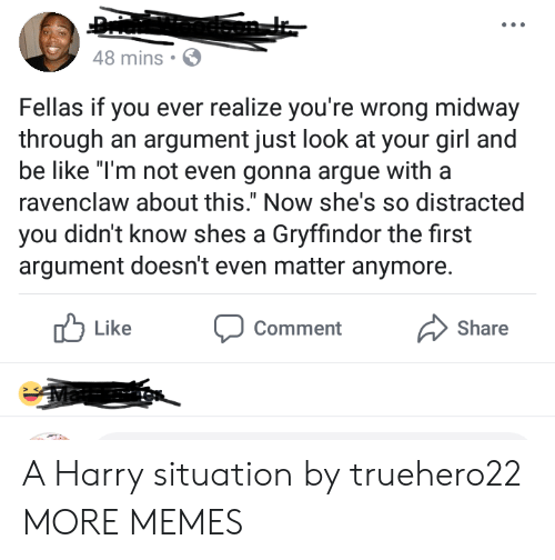 """Gryffindor: 48 mins  Fellas if you ever realize you're wrong midway  through an argument just look at your girl a  be like """"T'm not even gonna argue witha  ravenclaw about this."""" Now she's so distracted  you didn't know shes a Gryffindor the first  argument doesn't even matter anymore.  Like  Comment  Share A Harry situation by truehero22 MORE MEMES"""