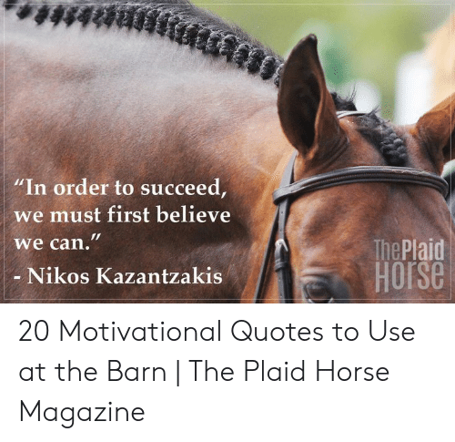 """succeed:  #48888  """"In order to succeed,  we must first believe  we can.""""  The Plaid  HOrse  Nikos Kazantzakis 20 Motivational Quotes to Use at the Barn 