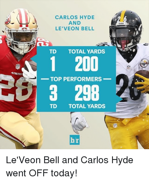 49er: 49ERS  CARLOS HYDE  AND  LE VEON BELL  TD TOTAL YARDS  1 200  TOP PERFORMERS  3 298  TD TOTAL YARDS  Ai Le'Veon Bell and Carlos Hyde went OFF today!