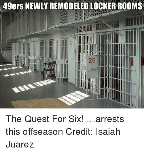 NFL: 49ers NEWLY REMODELED LOCKERROOMS  @NFL MEMES  24 The Quest For Six! …arrests this offseason Credit: Isaiah Juarez