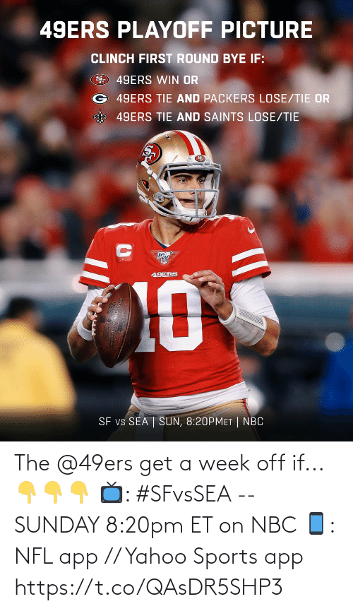 Packers Lose: 49ERS PLAYOFF PICTURE  CLINCH FIRST ROUND BYE IF:  49ERS WIN OR  G 49ERS TIE AND PACKERS LOSE/TIE OR  49ERS TIE AND SAINTS LOSE/TIE  49ERS  10  SF vs SEA | SUN, 8:20PMET | NBC The @49ers get a week off if... 👇👇👇  📺: #SFvsSEA -- SUNDAY 8:20pm ET on NBC 📱: NFL app // Yahoo Sports app https://t.co/QAsDR5SHP3