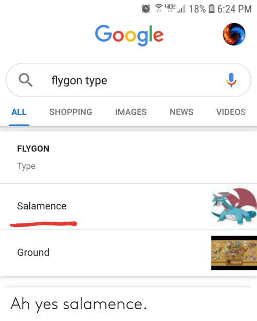 flygon: 4G  18% O 6:24 PM  Google  flygon type  NEWS  ALL  SHOPPING  IMAGES  VIDEOS  FLYGON  Type  Salamence  Ground Ah yes salamence.