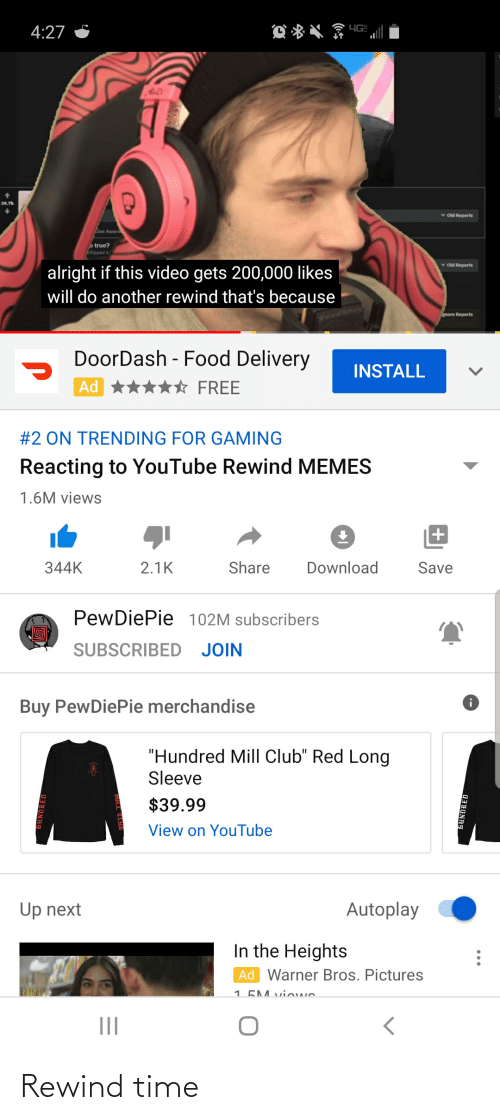 "in the heights: 4G  4:27  34.7k  v old Reports  Give Award  o true?  Stipped  v old Reports  alright if this video gets 200,000 likes  will do another rewind that's because  gnore Reports  DoorDash - Food Delivery  INSTALL  Ad  FREE  #2 ON TRENDING FOR GAMING  Reacting to YouTube Rewind MEMES  1.6M views  Share  Download  344K  2.1K  Save  PewDiePie 102M subscribers  SUBSCRIBED JOIN  Buy PewDiePie merchandise  ""Hundred Mill Club"" Red Long  Sleeve  $39.99  View on YouTube  Autoplay  Up next  In the Heights  Ad Warner Bros. Pictures  1 5M vi we  fKUNDRED  (* Rewind time"