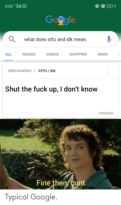 Shopping: + 4G  40.0  KB/S  5:02 * 491l  14 4  Google  what does stfu and idk mean.  ALL  IMAGES  VIDEOS  SHOPPING  NEWS  Abbreviation / STFU / IDK  Shut the fuck up, I don't know  Feedback  Fine then, cunt Typical Google.