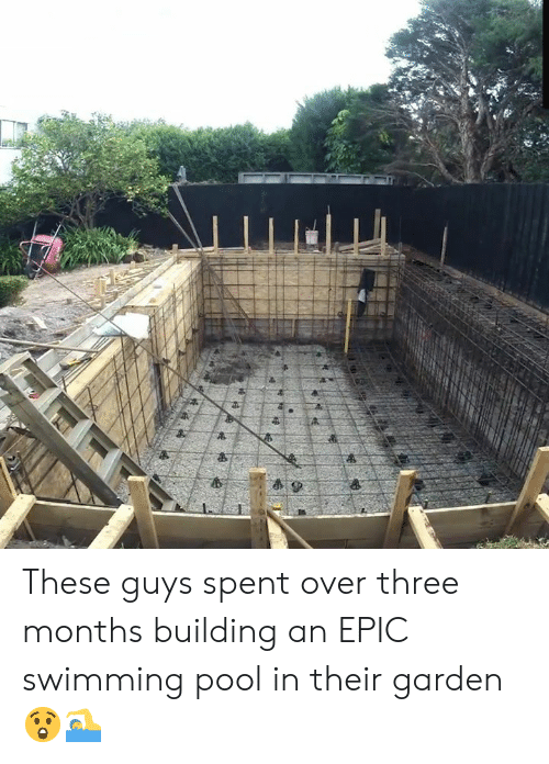 swimming pool: 4P These guys spent over three months building an EPIC swimming pool in their garden 😲🏊