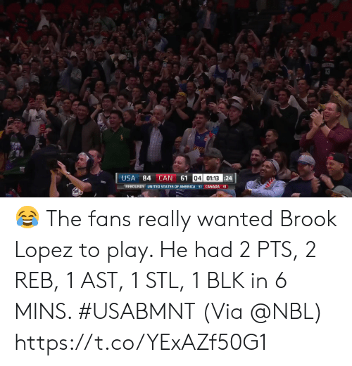 acc: 4ST  ST  AcC  61 04 01:13 24  USA  84 CAN  REBOUNDS UNITED STATES OF AMERICA 51 CANADA 31 ? The fans really wanted Brook Lopez to play.   He had 2 PTS, 2 REB, 1 AST, 1 STL, 1 BLK in 6 MINS. #USABMNT  (Via @NBL)    https://t.co/YExAZf50G1