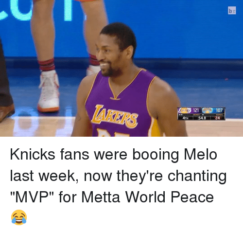 "Sports, Mvp, and World Peace: 4TH  121 107  IUNUE  54.8  24 Knicks fans were booing Melo last week, now they're chanting ""MVP"" for Metta World Peace 😂"