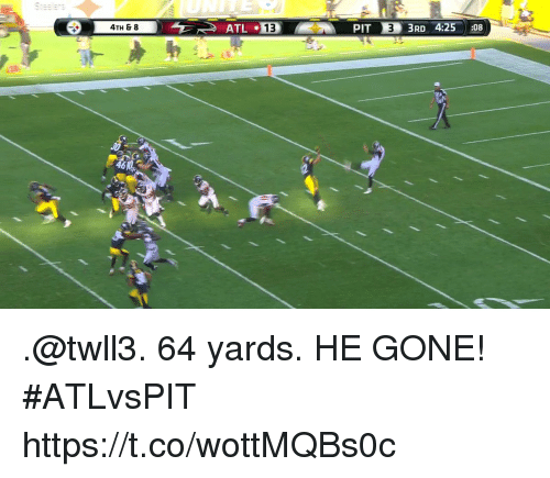 Pits: 4TH & 8  PIT  3RD 4:25 :08  46 .@twll3. 64 yards. HE GONE!  #ATLvsPIT https://t.co/wottMQBs0c