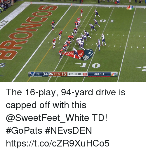 Memes, Drive, and White: 4th 9:10 :03  d& 4 The 16-play, 94-yard drive is capped off with this @SweetFeet_White TD!  #GoPats #NEvsDEN https://t.co/cZR9XuHCo5