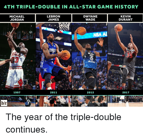 All Star, Michael Jordan, and Sports: 4TH TRIPLE DOUBLE IN ALL STAR GAME HISTORY  LEBRON  DWYANE  KEVIN  MICHAEL  JORDAN  JAMES  DURANT  WADE  STAR NEW ORLEANS 201m  2017  BA ALL STA  1997  2011  2012  2017  b/r The year of the triple-double continues.