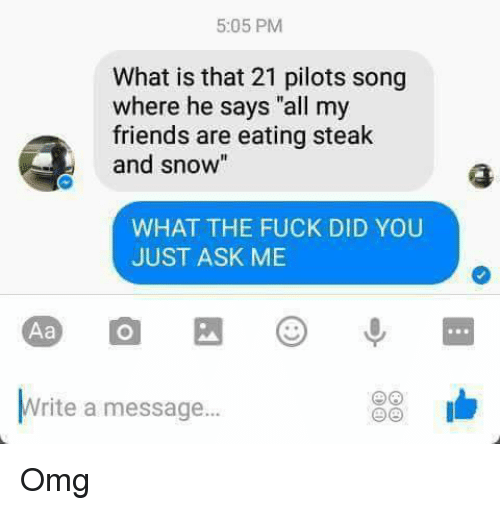 """21 Pilots: 5:05 PM  What is that 21 pilots song  where he says """"all my  friends are eating steak  and sno  WHAT THE FUCK DID YOU  JUST ASK ME  Aa  Write a message... Omg"""