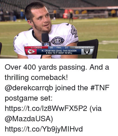 Season 6: 5-2 CHIEFS  30 FINAL 31  RAIDERS  M. CRABTREE (OAK): THIS SEASON  6 REC TD IT-MOST IN NFL) Over 400 yards passing. And a thrilling comeback!  @derekcarrqb joined the #TNF postgame set: https://t.co/lz8WwFX5P2 (via @MazdaUSA) https://t.co/Yb9jyMIHvd