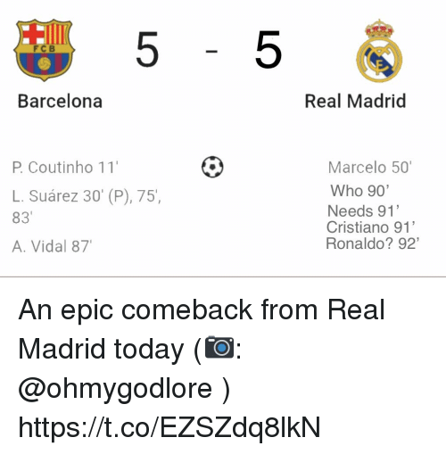 Vidal: 5-5  FC B  Barcelona  Real Madrid  P. Coutinho 11  Marcelo 50  Who 90  Needs 91'  Cristiano 91'  Ronaldo? 92'  L. Suárez 30' (P), 75,  83  A. Vidal 87 An epic comeback from Real Madrid today (📷: @ohmygodlore ) https://t.co/EZSZdq8lkN
