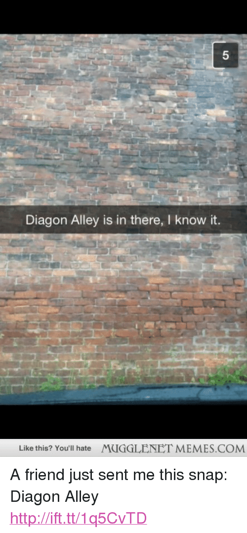 "memes: 5  Diagon Alley is in there, I know it.  Like this? You'll hate  MUGGLENET MEMES.COM <p>A friend just sent me this snap: Diagon Alley <a href=""http://ift.tt/1q5CvTD"">http://ift.tt/1q5CvTD</a></p>"
