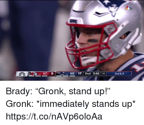 "gronk: 5 KC 9  NE17 2nd 3:48 :14  2nd & 8  5-0  3-2 Brady: ""Gronk, stand up!""   Gronk: *immediately stands up*  https://t.co/nAVp6oloAa"